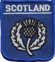 Scotland Thistle Blue Embroidered Badge (a130)